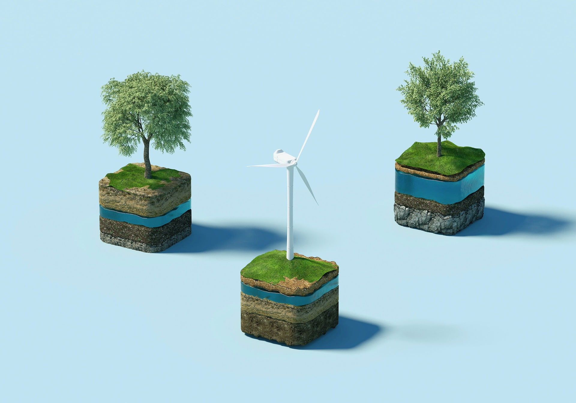 Ympäristö, tuulimylly ja vesi vastuullisuuden symbolina