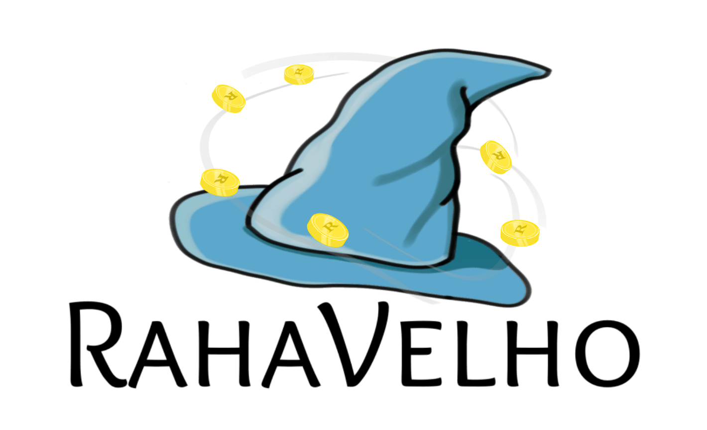 RahaVelho logo, Velhon hattu jota ympäröi kultakolikot